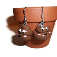 Happy Poo Charm Earrings, Polymer Poo Charms, Polymer Clay Poo, Poop jewelry, Poop earrings, polymer clay poop