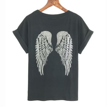 Wing Sequined Punk Rock T shirt