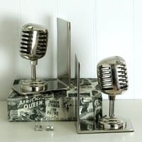 Nickel Microphone Bookends