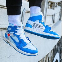 NIKE AIR JORDAN 1 & Off White New fashion hook couple high top contrast color shoes