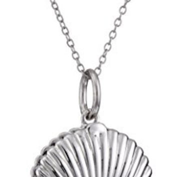 "Sterling Silver Seashell with Freshwater Cultured Pearl ""Beauty in Persistence"" Locket Pendant Necklace"
