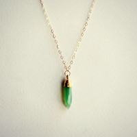 gold filled Chrysoprase spike necklace, layer necklace, gold spike necklace, minimalistic necklace, gold filled necklace