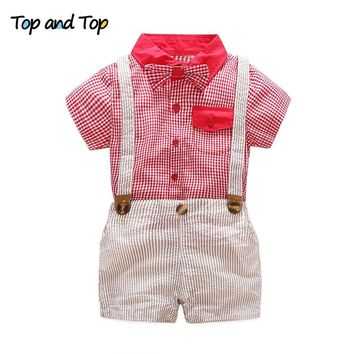Top and Top Summer Baby Boy Clothing Set Gentleman Suit Short Sleeve Plaid Bow Tie Shirt+Shorts 2Pcs Formal Baby Clothes