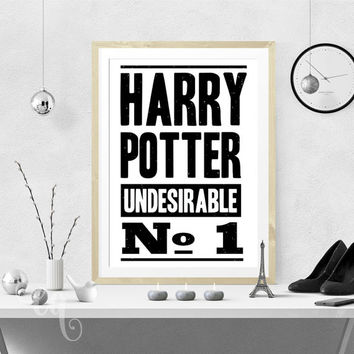 "Wall art decor, Harry Potter typography poster giclée print ""Harry Potter Undesirable No 1"", inspired by Daily Prophet headline cover."