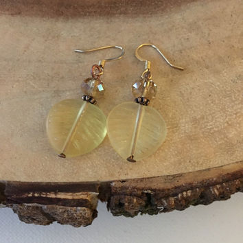 Yellow Leaf Earrings, Glass Leaf Earrings