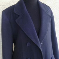 Vintage women's coat  100% camel hair Nordstrom's double breasted long dark navy blue 6 button front ' Flurette of California ' 70's vintage