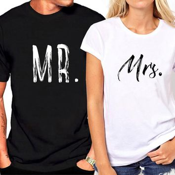 Fashion Brand Couple T-shirt for  Lovers Letter Print MRS Funny T Shirt Female Summer Tops White Loose Tee Shirt Hipster Clothes