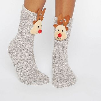 ASOS Holidays Reindeer Cozy Sock Gift Box at asos.com