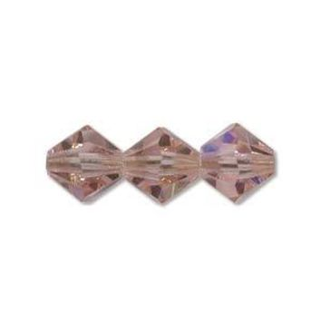 MC30204ROLTAB - 4mm Preciosa Bicone Crystal Beads,  Lt Rose AB | Pkg 144