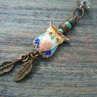 owl cloisonne  belly ring  light pink belly owl jewelry in beach boho gypsy hippie belly dancer  fantasy beach hipster and fantasy style