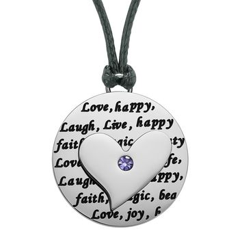 Adorable Heart Inspirational Medallion Live Love Laugh Faith Amulet Cute Purple Crystal Cord Necklace