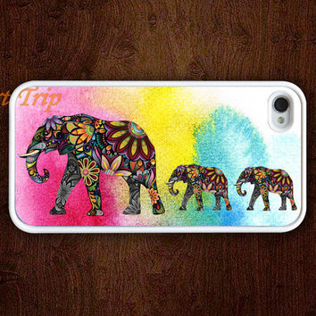 iPhone 4 Case, iphone 4s case --Mama Elephant and two Baby Elephants iphone case,colorful elephant iphone 4 case, iphone case
