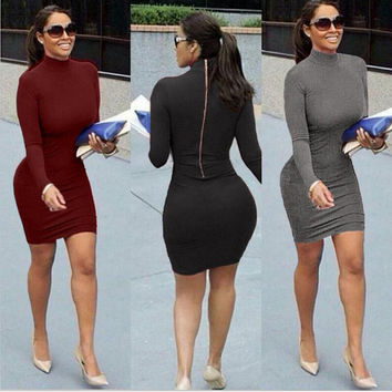 Long sleeves even tight dress