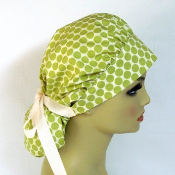Bouffant Women's  Surgical Scrub Hat or Cap Amy Butler Polka Dot Lime