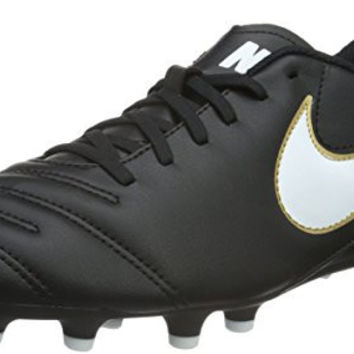 Nike TIEMPO RIO III FG Mens Black White Gold Athletic Outdoor Soccer Cleats (Medium,11,Black/White/Gold)