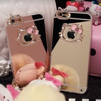 Beautiful Diamond Rhinestone Hello Kitty+Mirror Soft TPU case cover For Apple iphone X XS Max XR 6 6s 7 8 Plus 5 5s SE 4 4s