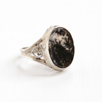 Vintage Sterling Silver White & Black Moss Agate Ring - Art Deco Size 4 1/2 Clear and Dark Dotted Oval Stone Heart Filigree Jewelry