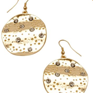 Drop Disc Earrings with Amber Crystals