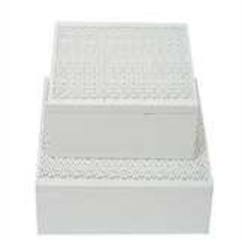 "5-3/4"" Square x 2-3/4""H MDF Laser Cut Box, White"