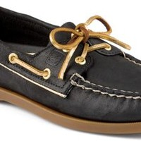 Sperry Top-Sider Authentic Original Metallic Piping 2-Eye Boat Shoe Black/Gold, Size 12M  Women's Shoes