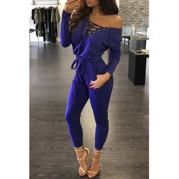Women Solid Color Long Sleeve Deep V-Neck Bandage High Waist Trousers Romper Jumpsuit