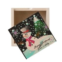 Snowman merry Christmas personalised Wooden Keepsake Box