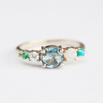 Bi Color Sapphire Ring, Blue Sapphire Ring, Sapphire Cluster Ring, Multistone Ring, Opal Turquoise Ring, Emerald Ring