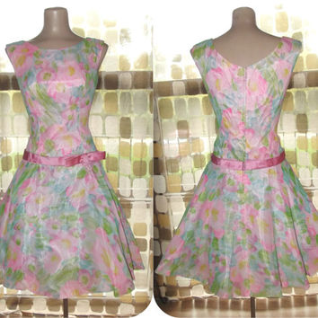 Vintage 50s 60s PINK Chiffon Floral Full Sweep Party Dress Cocktail Swing Dance Small