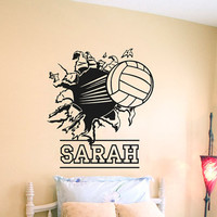Wall Decal Vinyl Sticker Decals Art Decor Design Volleyball Ball Player Sport Game Girl Team Beach Custom Name Dorm Bedroom Fashion (r620)