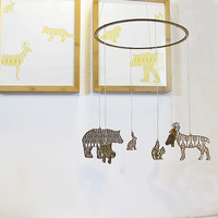 Woodland Animals Mobile (Bear, Deer, Fox, Owl, Rabbit, Squirrel) - Eco-friendly Bamboo