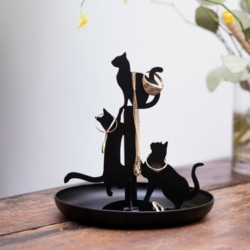 Kikkerland Jewelry Watch Bracelet Ring Holder Display Cats Stand Organizer Black