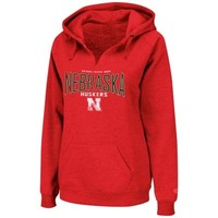 Nebraska Cornhuskers Ladies Throwback Pullover V-Neck Hoodie - Scarlet