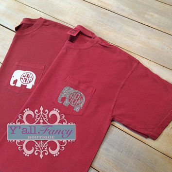 Glitter Elephant Monogram Comfort Colors SHORT SLEEVE Crimson Pocket Tee - Y'all Fancy