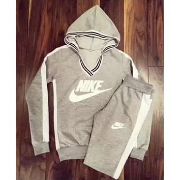 Nike Popular Women Print V-Collar Sweatshirt Sweater Pants Sweatpants Set Two-Piece Sportswear I