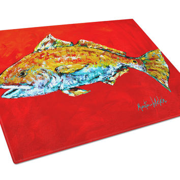Fish - Red Fish Red Head Glass Cutting Board Large