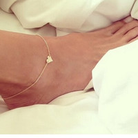 New Fashion jewelry Chain Sexy Gold Tone Love Heart Foot Jewelry Heart Anklets for Women Girl = 5658240001