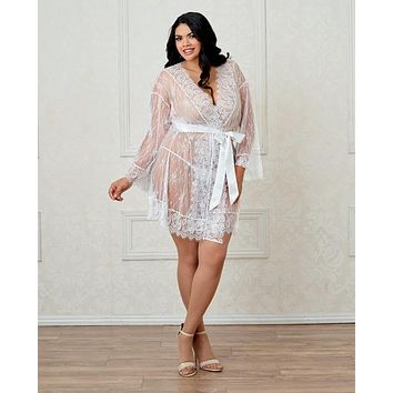 Dreamgirl Plus Size Long-Sleeved Lace Kimono Robe w/Eyelash Trim