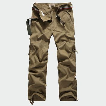 High Quality Men's Military Cargo Pants Full Length Multi Pockets Camouflage Casual Trousers 100% Cotton Size 30-40