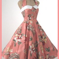 1950s Style Hawaiian Print Halter Swing Dress-50s Vintage Reproduction Dresses
