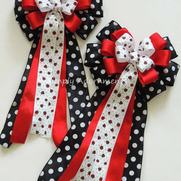 Ladybug baby shower Decor Ladybug birthday party decor Red Black Wedding Pew Bow Ladybug party Decor Ladybug Wedding Pew Bow