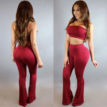 Strapless Crop Top Bell-bottomed Pant Two Pieces Set