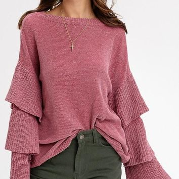 Chenille Layered Sleeves Pullover Sweaters (Rose)