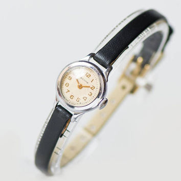 Petite watch for lady Volga, watch for women watch vintage, lady's watch retro, classic women watch jewelry gift, premium leather strap new
