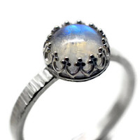 Rainbow Moonstone Ring, Hammered Silver Ring, Moonstone Cocktail Ring, Jewel Ring