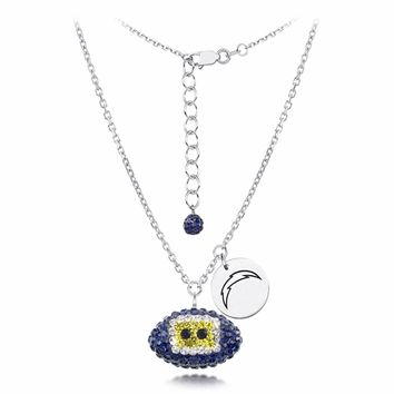San Diego Chargers Silver and Crystal Necklace Jewelry. NFL Jewelry