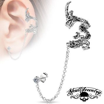 'Selene' Flying Dragon Ear Cuff w/ Chain Linked Clear Cubic Zirconia Stud Ear Rings (e007)