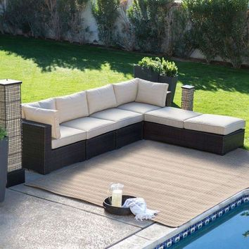 DCKL9 Outdoor Wicker Resin 6-Piece Sectional Sofa Patio Furniture Conversation Set with Tan