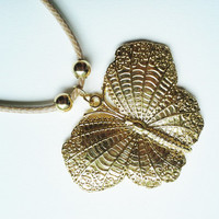 Butterfly gold filled pendant on leather necklace. Butterfly necklace. Gold butterfly.