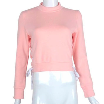 Best Friends Sweatshirt Cropped Cross Hollow Out Sweatshirt Loose Long Sleeve Casual Pullover Chandal Mujer Completo#C919 SM6