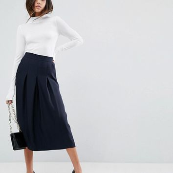 ASOS Tailored Clean Column Skirt With Pleats at asos.com